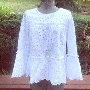 Vineyard Vines White Lined Eyelet Top With Layers